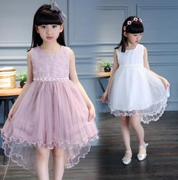 $enCountryForm.capitalKeyWord NZ - 2018 New Products Girls Sleeveless Mesh Dresses Children's Dovetail Performance Princess Dress Wholesale Lace White Pink