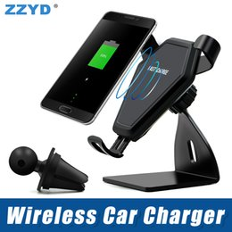 Wholesale ZZYD Wireless Car Mount Charger Air Vent Phone Holder Fast Quick Charging For Samsung S8 S8P Note Qi Enabled Device