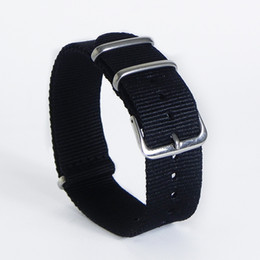 Discount fabric nylon watch strap - Watchband Nylon Nato Strap Striped Rainbow Army Solid Replacement Canvas Watch Nylon Band 18mm 20mm 22mm High Quality