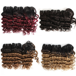 China Kiss Hair Romance Curl Ombre Color Blonde Burgundy Brown Auburn Short Bob Style 3Pcs 155G Brazilian Deep Wave Ombre Hair cheap burgundy brazilian hair suppliers