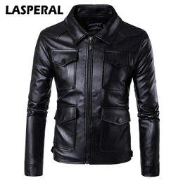 Discount motorcycle jacket 4xl - Wholesale- LASPERAL Fashion Men Pu Leather Motorcycle Jacket Coat Winter Autumn Punk Rock Windbreakers Overcoats Male 20