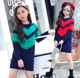 87ce8f830 Suéter de la niña vestido de punto suéter del tejido del remiendo del  tejido ropa de estilo coreano ropa interior camisa tops niñosYY28