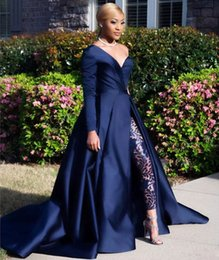 jumpsuits side zippers 2019 - One Shoulder Long Sleeve Side Split Sequined Prom Gowns Pants Jumpsuits A Line Plus Size Formal Dress Dark Navy Two Piec