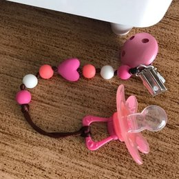Discount made organic - New Baby Pacifier Clip Pacifier Chain Hand Made Cute Colourful Beads Dummy Clip Baby Soother Holder For Baby Kid