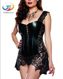 $enCountryForm.capitalKeyWord NZ - Tenglongwl Fashion Sexy Women Corset With Thong 2018 Faux Leather Black Lace Shaper Bustier Plus Size S-6XL New Free Dhl 50 pcs