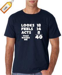 $enCountryForm.capitalKeyWord NZ - 2018 Streetwear Short Sleeve Tees 40 Years Old Algebra Equation Funny 40th Birthday Premium Men's T-Shirt 100% Cotton Top Tees