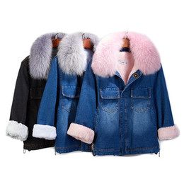 Wholesale fur pocket liners resale online - Winter new women s fashion warm real fox fur collar long sleeve denim jeans plus velvet faux lamb fur liner thickening short coat parka