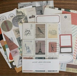 sticker books 2020 - 12 sheets pack DIY Seeso New Vintage Retro Classic Stamp Sticker Sticky Notes Scrapbooking Paper for Book Decoration Dia