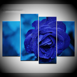 Hd flowers painted canvas online shopping - Canvas Paintings Modular Wall Art Pieces Blue lover Poster HD Prints Blue Rose Flower Pictures Living Room Home Decor Framewor