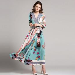 Kimono European Style Canada - Autumn Women Vintage Printed Dress Long Sleeve V Neck Casual Chiffon Dress European Style Elastic Waist A-line Long Dress