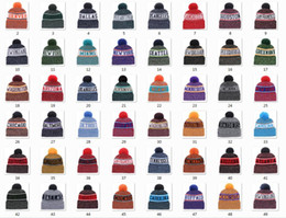 Camping hiking hats online shopping - New Beanies Football Beanies Sideline Cold Weather Sport Knit Hat Pom Pom Hats Hot Team Color Knits Mix Match Order All Caps