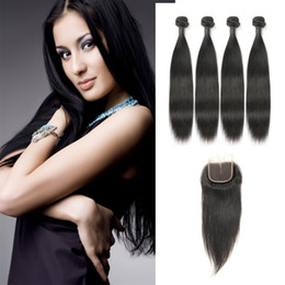 Wholesale Big Deal Real Unprocessed Hair Indian Brazilian Hair Bundles With Middle Part Lace Closure Laflare Hair Product