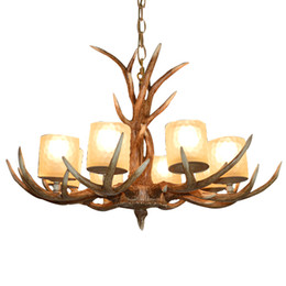 China American antler chandelier glass lampshade resin LED lamps Retro living room dining room light bar modern Home lighting G193 supplier resin antlers suppliers