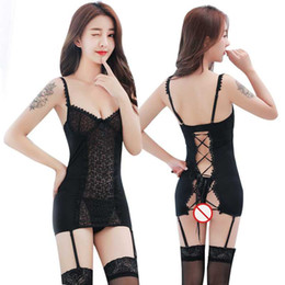 adult vest 2021 - Free Shipping New sexy lingerie cosplay Deep V black lace vest women's sling stockings uniform temptation suit gart