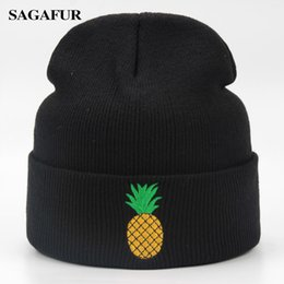 $enCountryForm.capitalKeyWord Canada - Cute Pineapple Embroidery Beanies Autumn Winter Slouch Skullies Brand Casual Outdoor Warm Soft Ski Caps For Girl Acrylic Men Hat