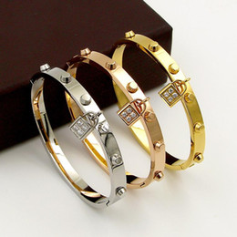 Name Plate Jewelry Sets Australia - Hot sale luxurious Brand Name 18k Gold rivet bracelet with Lock Accessories diamond-encrusted CNC Bangles for Men and Women Hip hop jewelry