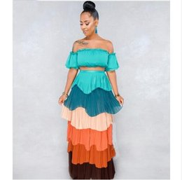 f7e5ed7e58cb 2018 Summer 2 Piece Set Women Crop Top And Long Skirt Sexy Party Casual Two  Piece Set Strapless Slash Neck Set