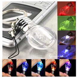 Wholesale Mini Change Color Creative LED Lamp Bulb Light Key Chain Key Ring Night light