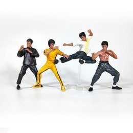 Kung fu doll online shopping - 4 piece Set of Non movable Bruce Lee Dolls Anniversary Yellow Clothes Moveable PVC Action Figure Model Toys