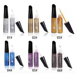$enCountryForm.capitalKeyWord NZ - 6 Colors Glitter Liquid Eyeliner Pen Metallic Shine Eye Shadow Liner Sequins eye shadow eyeliner Free shipping