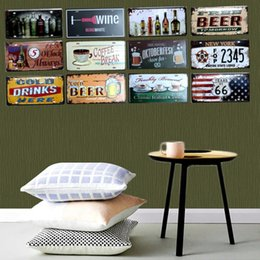 vintage tin beer signs 2019 - 50 styles Beer License Plate Metal Painting Retro Tin Signs Vintage Wall Bar Ktv Coffee Home Art Decor 30X15CM cheap vin
