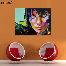 Bar Paintings NZ - Pretty Woman Handmade Oil Painting on Canvas Palette Knife Figure Picture for Modern Home Bar Dinning Room Bathroom Decoration