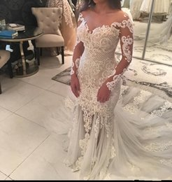$enCountryForm.capitalKeyWord Canada - High Quality Sheer Neckline Mermaid Wedding Dresses With Lace Appliques Beaded Illusion Long Sleeve See Through Tulle Long Train Bridal Gown