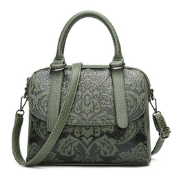 $enCountryForm.capitalKeyWord UK - 2018 new shoulder bag women's national style embossed pu Boston bag Chinese style women's carrying messenger bag