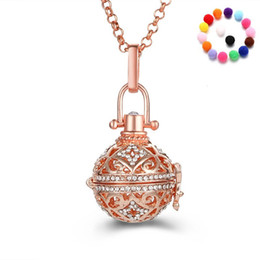 white rose oil wholesale Canada - Diffuser Necklaces Gold White Gold Rose Gold Hollowed Out Rhinestone Essential Oil Necklace Fashion Jewelry Pendants