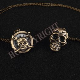 pirates watches 2018 - Fashion Retro Skull Necklace Chain Bronze Pocket Watch Punk Pirate Gift Pocket Fob Watches New cheap pirates watches