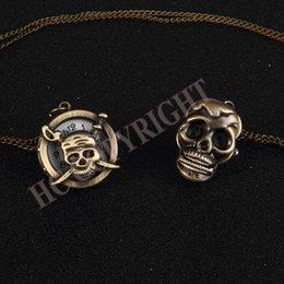 skull pirate watch 2018 - Fashion Retro Skull Necklace Chain Bronze Pocket Watch Punk Pirate Gift Pocket Fob Watches New cheap skull pirate watch