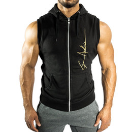 $enCountryForm.capitalKeyWord Canada - Men Fitness bodybuilding Sleeveless hoodie Sweatshirt male gyms cotton Hooded vest Casual fashion Brand Sportswear clothing