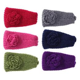China Women Knitted Headband Crochet Winter Flower Ear Hairband Headwrap Gift supplier crochet knit flower headband suppliers