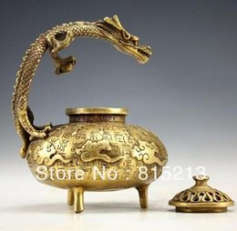 old decorated Chinese handwork copper incense burner armored 2 tigers