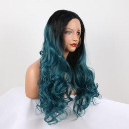Lace Wig Blue Ombre Australia - Dark Blue Lace Wig Ombre Synthetic Long Wavy Heat Resistant Fiber Replacement Synthetic Lace Front Ombre Dark Blue Wig For Women