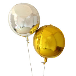 kids toy cube UK - 22inch 4D Cube Balloon Gold Silver Color Round Aluminum Foil Balloons Wedding Birthday Party Decoration Helium Balloon Toys For Kids