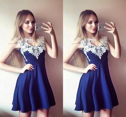 $enCountryForm.capitalKeyWord Australia - Cap Sleeve Short Prom Dresses 2019 White Lace Royal Blue Satin Bateau A-line Party Dress Cheap Homecoming Dress Plus Size