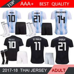 Wholesale MESSI World Cup Argentina men kit home Away soccer jersey adult SOCK DYBALA Argentina AGUERO DI MARIA HIGUAIN football shirts