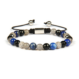 lapis ball 2019 - Men Bracelets Wholesale 6mm Natural Lapis Lazuli & Faceted Onyx Stone Beads Clear Cz Ball Macrame Bracelet With Stainles