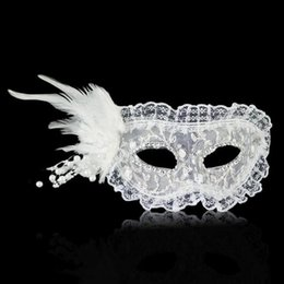 $enCountryForm.capitalKeyWord Australia - MOQ:10PCS Ball Mask Lace Masks With Feather Beads Adult Half Face Dance Mask Female Princess Cosplay Props For Women Event Wear