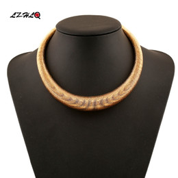 Discount jewelry thick necklace - Brand Geometric Thick Metal Torques Fashion Women Simple Choker Necklace Trendy Party Punk Maxi Collier Jewelry Statemen