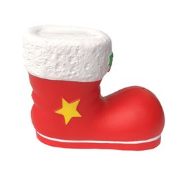 Wholesale 2018 Hottest Squishy Slow Rising Boots Santa Claus shoes Kawaii Squeeze toys Red Simulation Christmas Decompression Kids Toy DHL Free