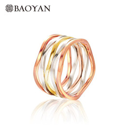 wholesale fashion stack rings 2018 - Baoyan Fashion 316L Stainless Steel Silver Triple Color Wide Stack Ring for Women Wholesale Mixed Lots N0 cheap wholesal