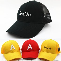 Snapback Face Canada - Cotton Smile Face Letter A Children Baseball Caps Girls Boys Summer Peaked Caps Outdoor Snapback Hats Fit For 3-8