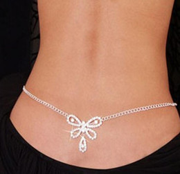 Sexy Woman Silver Swimsuits Australia - Women Sexy Swimsuit Chain Waist Belly Chains Beach Jewelry Crystal butterfly waist jewelry for Wedding bridal