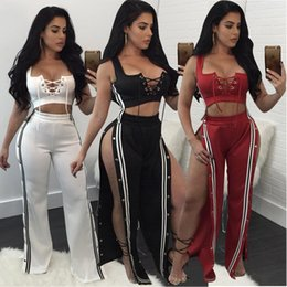 Motorcycle fitness online shopping - Hisimple Piece Set Women Side Striped Button Split Wide Leg Pants Tracksuit Sexy Lace Up Tank Top Fashion Designed Fitness Sporting Suit