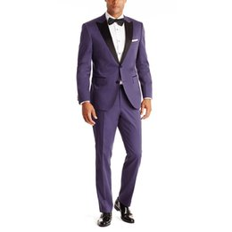 grey suits for mens wedding color NZ - New Arrival Purple Grooms Tuxedos Black Satin Peaked Lapel Wedding Suits For Men Two Piece Mens Suits Two Button Groomsm (Jacket+Pants) G373