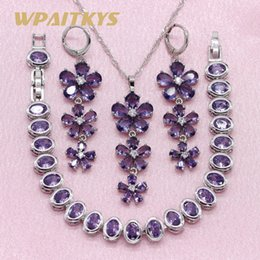 $enCountryForm.capitalKeyWord NZ - ewelry sets for women Exquisite Purple Red Pink Stone 925 Silver Jewelry Sets For Women Party Earrings Bracelet Pendant Necklace Free Gif...