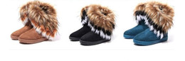 Selling high heel ShoeS online shopping - factory hot sell Fashion Fox Fur Warm Autumn Winter Wedges Snow Women Boots Shoes GenuineI Mitation Lady Short Boots Casual Long Snow