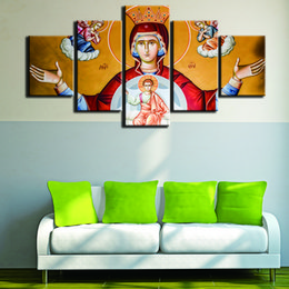 Decorative Canvas Print Art Australia - Modern Frames For Paintings Decorative Canvas Art Prints 5 Panel Virgin Mary Wall Pictures For Home Decoration Painting Kids Room